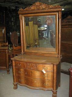 Oak 3 Piece Bed Set | eBay Antique Dressers, Oak Dresser, Antique Furniture, Empire Furniture, Golden Oak, Bedroom Vintage, Old Houses, Bedding Sets, 3 Piece