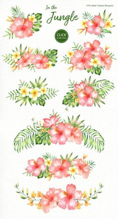 Watercolor Flowers Discover In the Jungle Watercolor Clipart Woodland Animals Kids Clipart Nursery Decor Watercolor Leaf Wedding Clip Art Tropical Clipart Sloth In the Jungle Watercolor Clipart Woodland Animals Kids