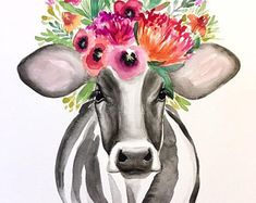 Poppy the Cow PRINT, floral cow, floral crown cow - Bilder - Vegan Cow Wallpaper, Animal Wallpaper, Watercolor Animals, Watercolor Print, Crown Painting, Flower Crown Drawing, Cow Tattoo, Cow Pictures, Cute Cows
