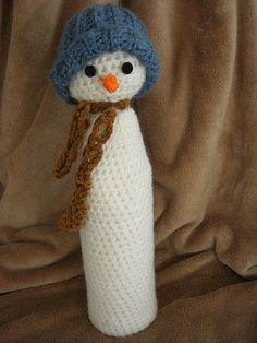 free snowman bottle cover pattern
