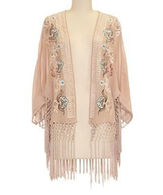Look what I found on #zulily! inLUV Taupe Ornate Fringe Open Cardigan by inLUV #zulilyfinds