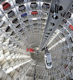 Volkswagen Polo Parking In Wolfsburg Germany Futuristic Architecture, Amazing Architecture, Architecture Design, Business Architecture, Architecture Quotes, Amazing Buildings, Unusual Buildings, Birds Eye View, Car Parking