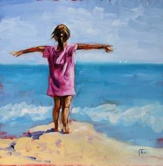 Free Bird -beach scene,children playing at the beach, painting by artist Debbie Miller