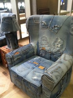 High Quality Denim Chair Made From Patchworked Recylced Denim Jeans | Denim And The  Beach | Pinterest | Denim Jeans, Patchwork And Recycle Jeans