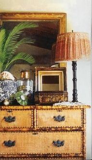 faux bamboo, chest and accessories in british west indies style West Indies Decor, West Indies Style, British West Indies, Tropical Style, Tropical Decor, Tropical Interior, Tropical Pool, Tropical Colors, Coastal Style