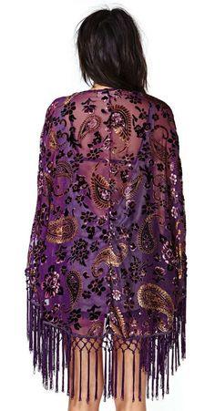 Reverse Sweet Worship Velvet Fringe Kimono