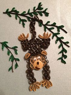 Quilled Monkey by jgaCreations on Etsy, $15.00