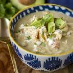 Creamy Verde Chicken Chili -- this delicious low carb chicken chili is packed with flavor, yet has only one net carb per serving… Make it in your slow cooker or your Instant Pot for dinner tonight!   skinny chicken chili   crockpot chicken chili   chicken chili recipe   healthy chicken chili   cream cheese chicken chili   find the recipe on unsophisticook.com