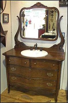 Photo of Front View - Antique Bathroom Vanity: Antique American Oak Dresser For Bathroom Vanity with white sink and faucet Diy Bathroom Vanity, Diy Vanity, Oak Bathroom, Bathroom Pink, Bathroom Ideas, Bathroom Cabinets, Antique Bathroom Vanities, Kitchen Cabinets, Closet Vanity