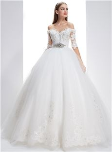 Crystal Natural Sashes/Ribbons Fall Church Backless Court Ball Gown Wedding Dress