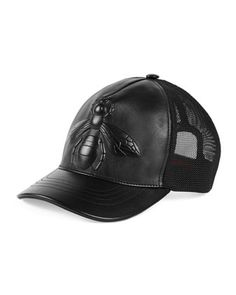 Bee-Embossed+Leather+Baseball+Hat,+Black+by+Gucci+at+Neiman+Marcus.