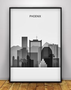 Black and white Phoenix Skyline Print, Arizona Cityscape Print, Phoenix Wall Art Decoration, Phoenix Skyline Poster, Pastel City Skyline, Silhouette Art. The frame is not included. SHIPPING: ►Delivered in a hard tube, by Bulgarian Post company Mail with tracking number. QUALITY & DETAILS: ►Priner: last generation Epson Stylus Pro 9900, Ten Color Ink System ►Paper: Silk Matt 255 g/m² Premium Photo paper ►Ink: Epson archival professional ink for colorful, vibrant prints that are water and...