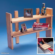Turn a single 3-ft.-long, 1x12 hardwood board into some small shelves to organize a desk top or counter. Cut off a 21-in.-long board for the shelves, rip it in the middle to make two shelves, and cut 45-degree bevels on the two long front edges with a router or table saw. Bevel the ends of the other board, cut dadoes, which are grooves cut into the wood with a router or a table saw with a dado blade, cross- wise (cut a dado on scrap and test-fit the shelves first!) and cut it into four…