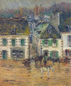 Hostel in Pont-Aven after rain  -   Gustave Loiseau 1922   French  1865-1935  impressionism