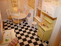 pink victorian kitchen 1:12 by It's a miniature life...is playing with clay, via Flickr