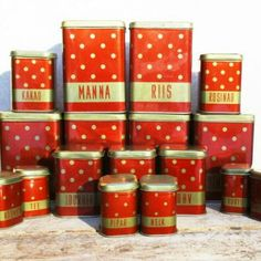 Cool polka dot canister set from Soviet Union era. It is clean and unused! Tap the photo! #merilinsretro