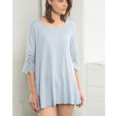 Crochet Sleeve Tunic Top Tunic top with crochet sleeves. Only available in this color. Brand new. Runs loose. NO TRADES DON'T ASK. Bare Anthology Tops Tunics