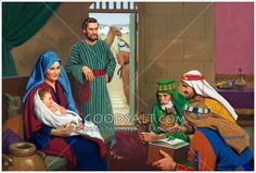 The Wise men give gifts to the baby Jesus at Joseph and Mary's home in Bethlehem. Part of a series.