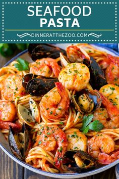 This seafood pasta is a mix of shrimp clams mussels and scallops all tossed together with spaghetti in a homemade tomato sauce. An easy yet elegant meal thats perfect for entertaining! Pastas Recipes, Seafood Pasta Recipes, Shrimp Pasta, Fish Recipes, Gourmet Recipes, Dinner Recipes, Cooking Recipes, Healthy Recipes, Pasta Spaghetti