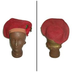 Vintage Red Straw Hat Red Flower Red Hat Society ca 1940s (€44) ❤ liked on Polyvore featuring accessories, hats, red hat, vintage straw hat, vintage hats, flower hat and straw hat