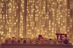 Hanging lights as backdrop