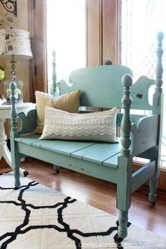 Mason-Jar-Blue-Headboard-Bench-3 from Confessions of a Serial Do it Yourselfer