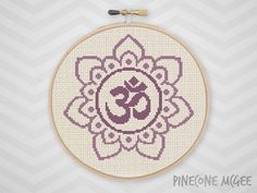OM FLOWER counted cross stitch pattern purple by PineconeMcGee
