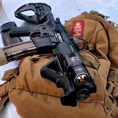 AR pistol, with a very nice stock! And of course the flashlight, muzzle and everything about this rifle ! Rifles, Winchester, Ar15 Pistol, M4 Carbine, Fire Powers, Cool Guns, Assault Rifle, Guns And Ammo, Survival Gear