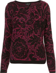 Topshop Knitted Flower Jacquard Jumper in Red (purple) - Lyst