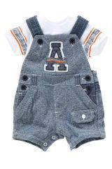 Blue Awesome Cropped Dungaree And Bodysuit Set (0-18mths)