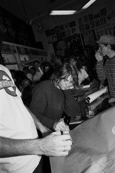 Kurt Cobain at autograph signing, 1991