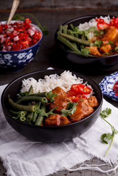 Spicy coconut chicken curry bowls with cardamom Basmati rice - Simply Delicious