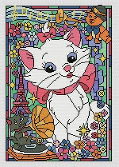 Disney cross stitch pattern The aristocats. Stained glass collection. Cross stitch pattern in PDF. NOT A PHYSICAL PRODUCT! __________________________________________________________________________________ BUY 2 PATTERNS AND GET 1 FREE! How: Buy 2 patterns and send me link of 3 in your Message to seller. The 3 pattern Ill send to your email during 24 hours after purchase. __________________________________________________________________________________ Size: 135w X 197h stitches. Colors…