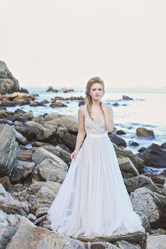 Gorgeous wedding dress | Amanda Berube Photography | see more on: http://burnettsboards.com/2014/11/whimsical-rocky-coast-wedding-inspiration/
