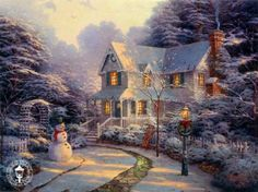 Thomas Kinkade The Night Before Christmas jigsaw puzzle by Gibsons - The wreath is hung, the path is swept & even the snowman is ready in this delighful festive image by the popular artist. Description from binbin.net. I searched for this on bing.com/images