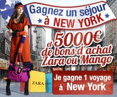 Gagner-Des-Voyages.com  ....  Gagnez un séjour à New york et 5000 € de bons d'achat