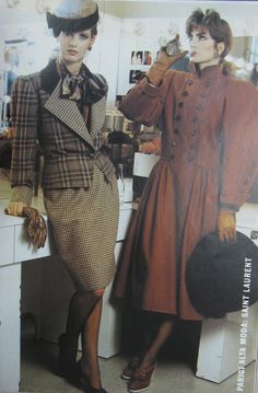 YSL, Italian Vogue, 1981.  Totally love the coat on the right.