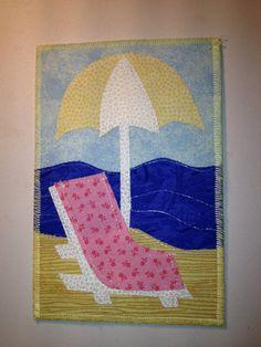Postcard  Beach chair  Fabric by sewallnight on Etsy, $2.50