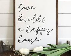 18x24| love builds a happy home| wood sign| handmade| home decor| farmhouse| fixed upper| distressed decor| country chic