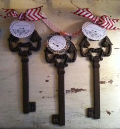 "Skeleton Key in Large. Fantastic iron skeleton key great for decorating, and perfect for the realtor or designer pop-by. Labels read ""you're the key to my success"", ""unlock the magic""."