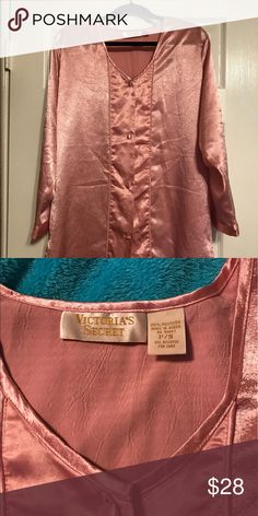 Victoria Secret long sleeve mauve sleep shirt Victoria Secret long sleeve mauve button down sleep shirt. It is made of a satin like material. Size small. Victoria's Secret Intimates & Sleepwear Pajamas