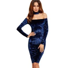 Cheap pencil dress, Buy Quality women dress directly from China women party dress Suppliers: SHEIN Woman Party Dresses Elegant Off the Shoulder Women Dress Autumn Knee Length Navy Choker Neck Velvet Pencil Dress Sexy Dresses, Elegant Party Dresses, Party Dresses For Women, Fall Dresses, Vestidos Sexy, Choker Dress, Neck Choker, Blue Choker, Bodycon Dress Parties