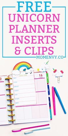 FREE Unicorn planner inserts and clips. Download a set of 5 different #unicorn planner inserts and two different unicorn planner clips. They come in three sizes to be used in any planner. #happyplanner #plannerprintables #freeplannerprintables #freeprintables  via @momenvy