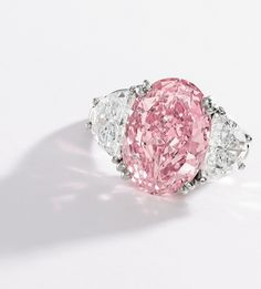 6.54-carat Fancy Intense Pink Diamond Ring by Oscar Heyman & Brothers • From the collection of Evelyn H. Lauder to be auctioned at Sotheby's on December 5