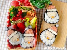 Santa Sushi Art Roll Bento サンタさんの飾り巻き寿司・クリスマスのキャラベン - Little Miss Bento
