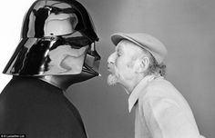 Vintage Empire Strikes Back set photo: Darth Vader enjoying a rare tender moment with Empire Strikes Back director Irvin Kershner