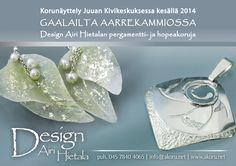 Design Airi Hietalan hopea- ja pergamenttikorujen näyttely Juuan Kivikeskuksessa elokuun 2014 loppuun saakka.