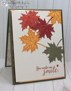 Stampin' Up! Colorful Seasons for Stamp Ink Paper We've got a theme challenge this week at Stamp Ink Paper and I used the Stampin' Up! Colorful Seasons stamp set bundle to create my card for the CAS fall theme. Here is the theme for Stamp Ink Pape… Homemade Greeting Cards, Homemade Cards, Fall Cards, Holiday Cards, Stampin Up Karten, Leaf Cards, Stamping Up Cards, Some Cards, Thanksgiving Cards