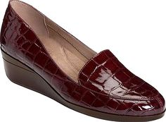 Aerosoles Shoes - With a smooth silhouette set on a mid-wedge heel, the Aerosoles True Match Wedge is the polished, professional loafer you've been looking for. Refined stitching and a 1. - #aerosolesshoes #wineshoes