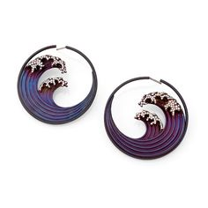 Titanium Diamond Oceam Wave Earrings Hokusai earrings by Garaude of Paris